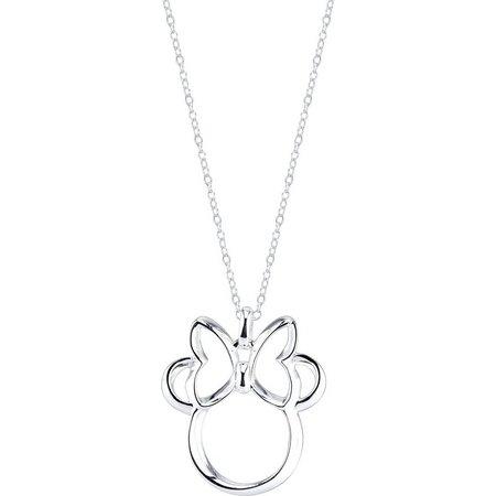 Disney Boxed Silver Open Minnie Pendant Necklace
