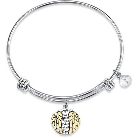 Footnotes Angel Wings Charm Bangle Bracelet
