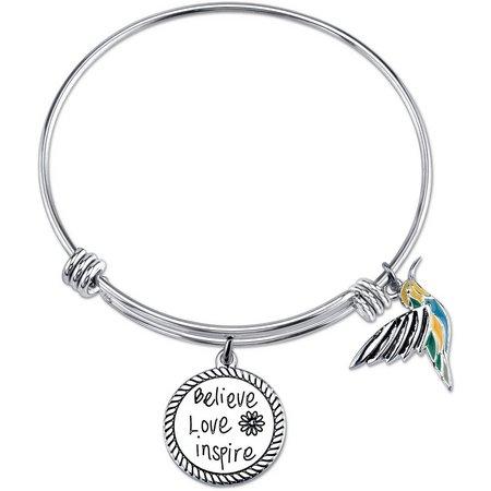 Footnotes Believe Love Inspire Bangle Bracelet