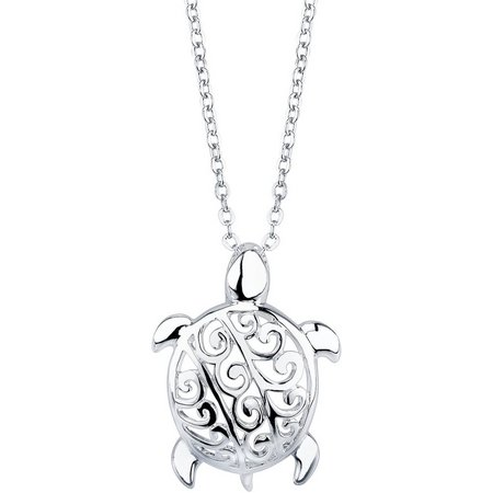 Footnotes Filigree Sea Turtle Pendant Necklace