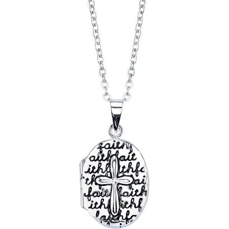 Footnotes Faith Cross Locket Pendant Necklace
