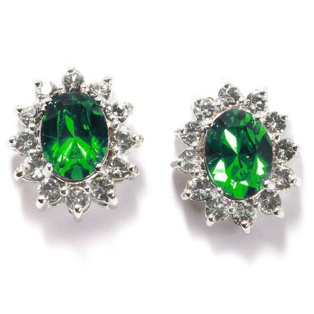 Shine Green Crystal Stud Earrings