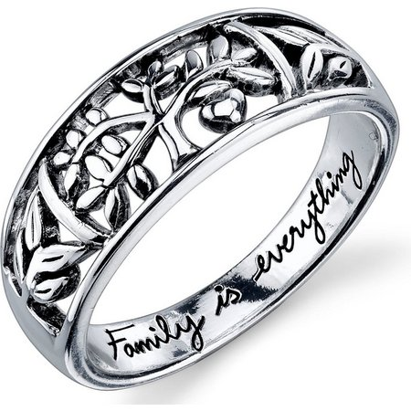 Footnotes Sterling Silver Family Tree Ring