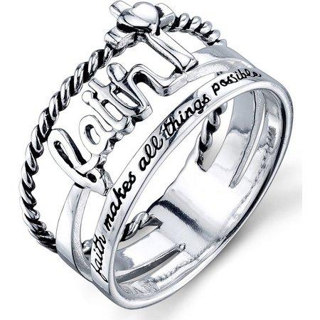 footnotes sterling silver faith band ring bealls florida