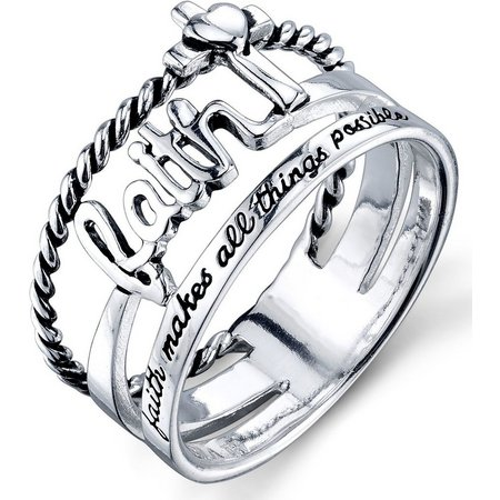 Footnotes Sterling Silver Faith Band Ring