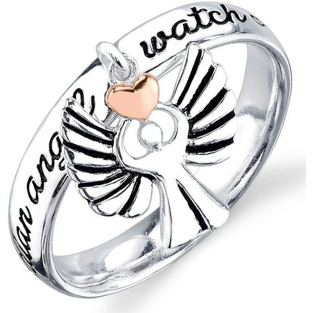 Footnotes Two Tone Guardian Angel Charm Ring