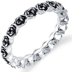 Footnotes Sterling Silver Rose Eternity Ring