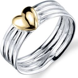 Footnotes Two Tone Heart Love Ring