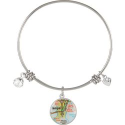 Footnotes Tampa Florida Charm Bangle Bracelet