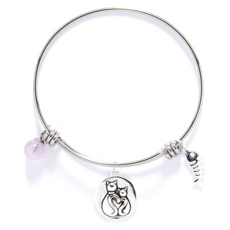 Footnotes Cat Lovers Charm Bangle Bracelet