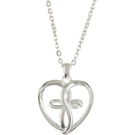 Footnotes Infinity Heart Cross Pendant Necklace
