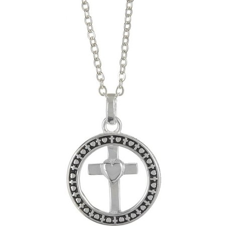 Footnotes Circle & Cross Pendant Necklace