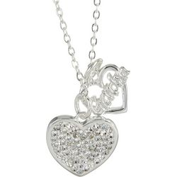 Footnotes Pave Rhinestone Heart Grandma Necklace