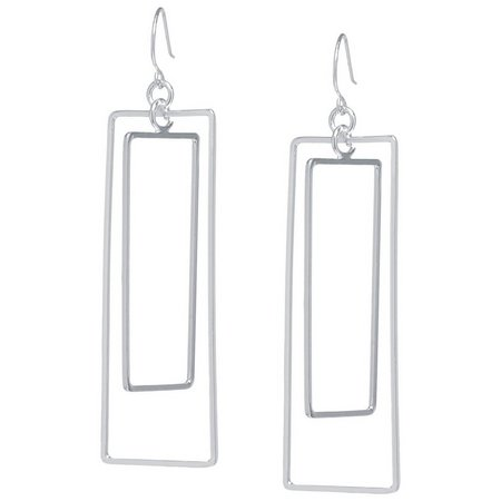 Lily Maris Silver Tone Open Rectangle Earrings