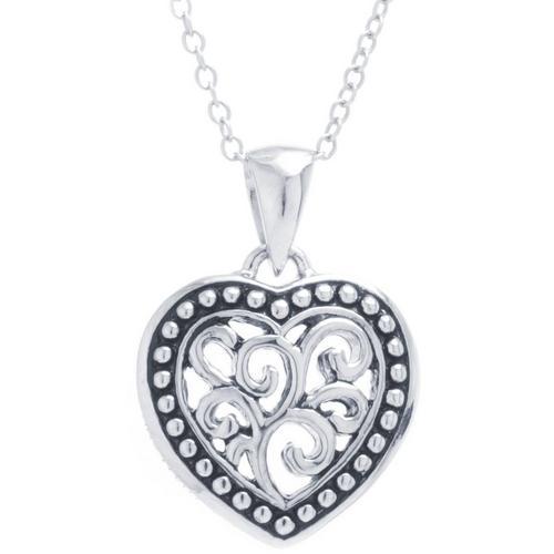Sora silver tone filigree heart pendant necklace bealls florida sora silver tone filigree heart pendant necklace aloadofball Image collections