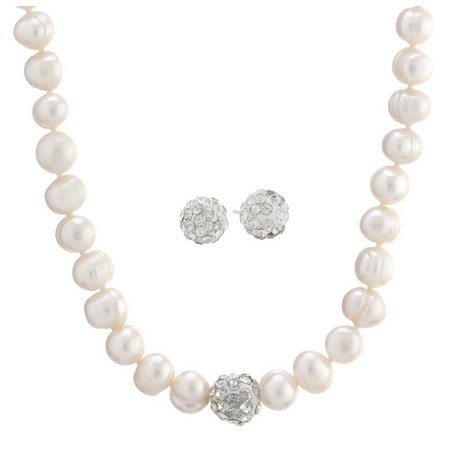 Cultured Freshwater Pearl Rhinestone Ball Necklace Set