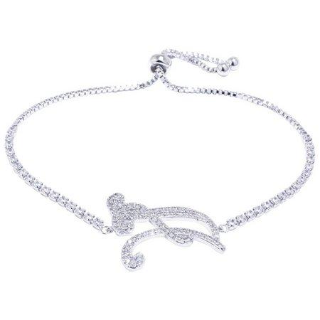 CZ Initial Bracelets A Slider Chain Bracelet