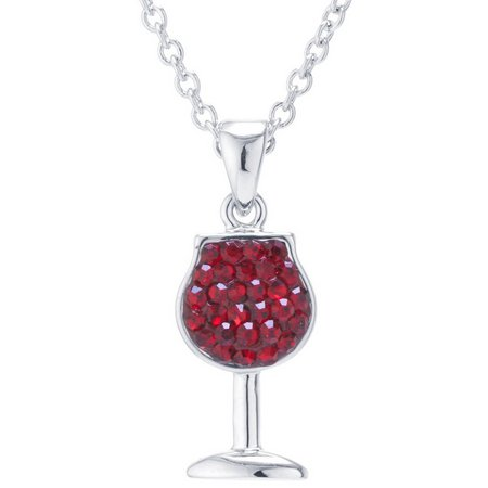Florida Friends Crystal Wine Glass Necklace