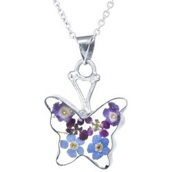 Everlasting Flowers Butterfly Pendant Necklace