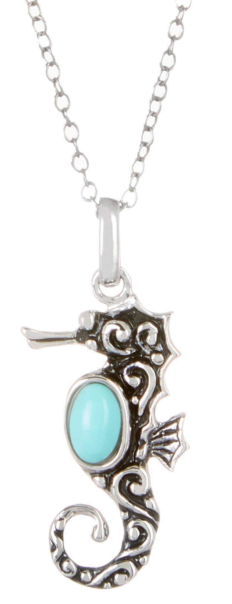 Signature Seahorse Pendant Sterling Silver Necklace