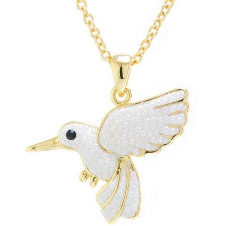 Pearl Caviar Hummingbird Pendant Necklace
