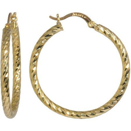 Plated Hoops Diamond Cut Hoop Earrings