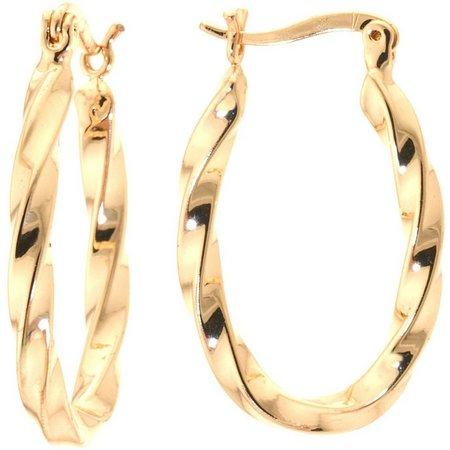 Plated Hoops 24K Plated Twisted Hoop Earrings