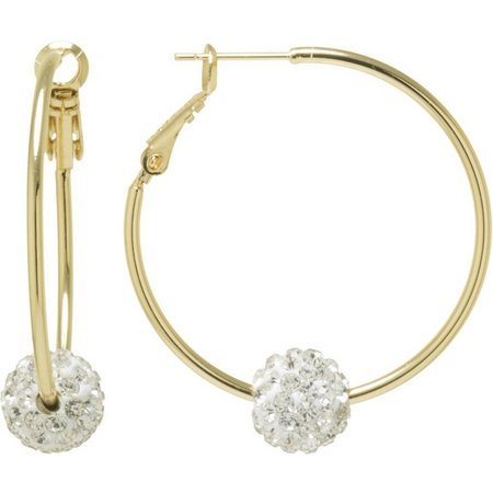 Infinity Clear Rhinestone Ball Gold Tone Earrings