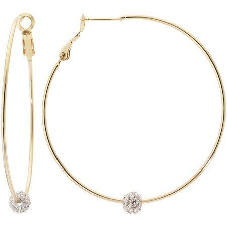 Infinity Rhinestone Ball Gold Tone Hoop Earrings