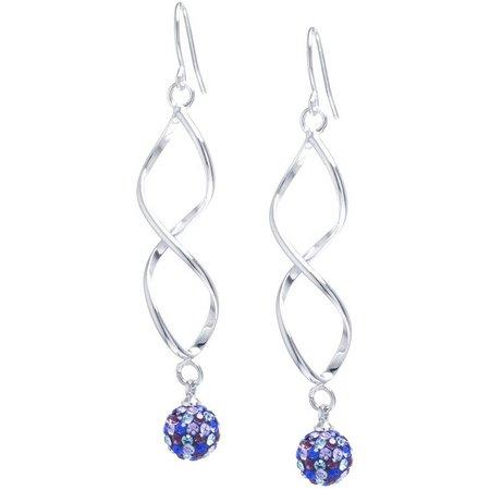 Infinity Multi Rhinestone Linear Twist Earrings