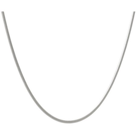 Pure 100 18'' Silver Plated Flat Herringbone Necklace