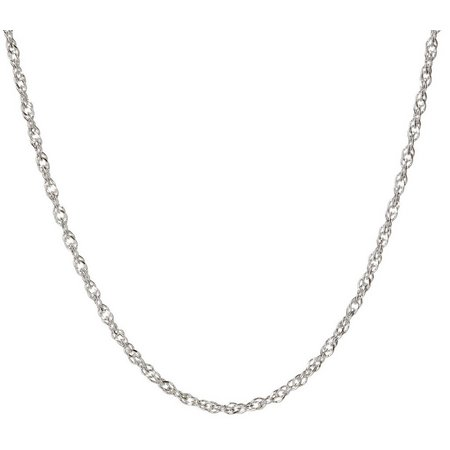 Pure 100 16'' Silver Tone Twisted Chain Necklace