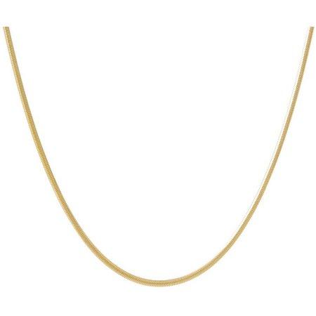 Pure 100 16'' Gold Tone Flat Herringbone Necklace