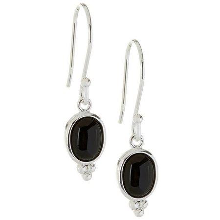 Pure 100 Oval Black Stone Dangle Earrings
