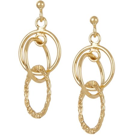 Pure 100 Multi-Ring Drop Post Top Earrings