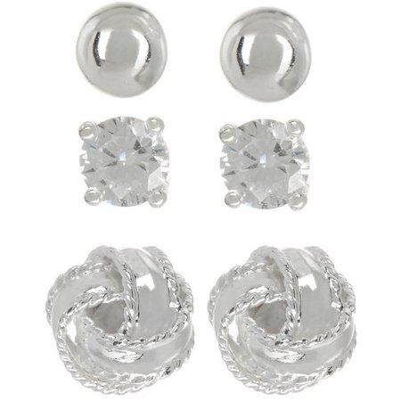 Pure 100 3-pc. Silver Tone Stud Earring Set