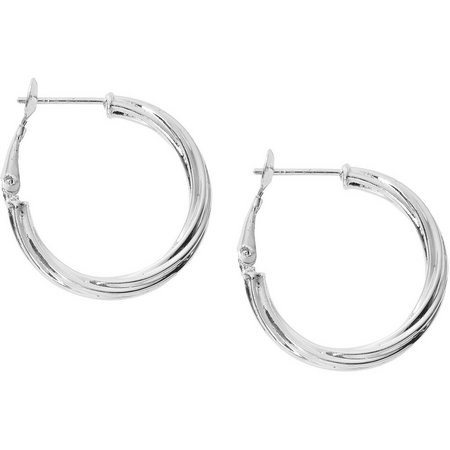 Pure 100 1 in. Silver Textured Hoop Earrings