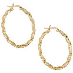 Pure 100 30mm Gold Tone Rope Twist Hoop