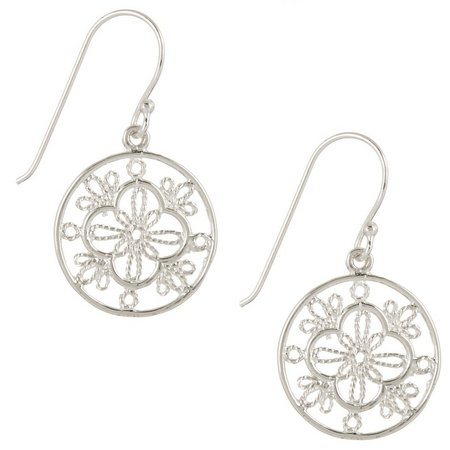 Pure 100 Silver Tone Round Filigree Earrings