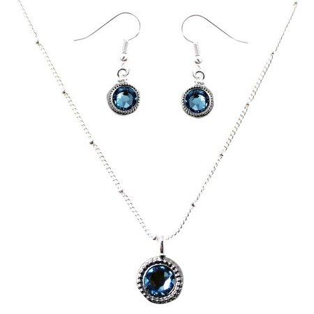 Crystalle Aquamarine Blue Earring & Necklace Set
