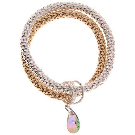 Crystalle Two Tone Teardrop Bracelet Set