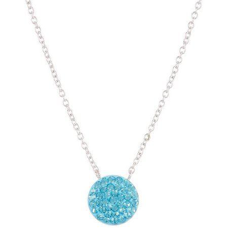 Silver Luxuries Aqua Blue Crystal Pave Necklace