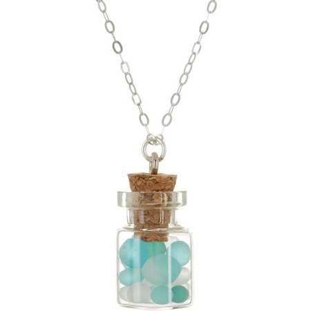 Beach Chic Sea Glass Wishes Pendant Necklace