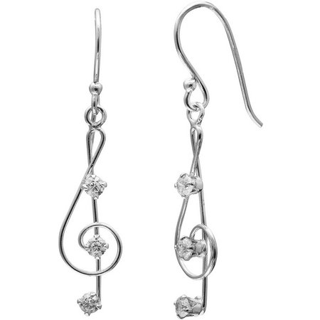Silver Brilliance CZ Music Note Earrings