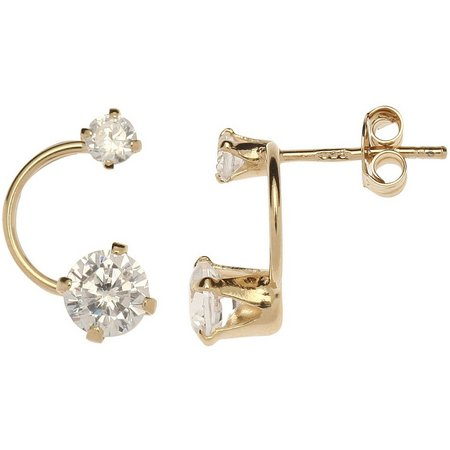 Silver Brilliance Gold Tone Double CZ Earrings