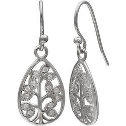 Silver Brilliance Family Tree Teardrop Earrings