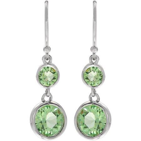 Crystal Elements Peridot Green Crystal Earrings