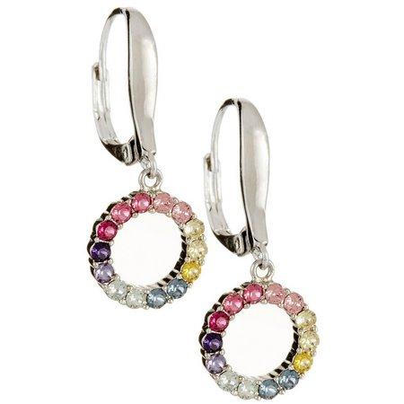 Crystal Elements Rainbow Circle Drop Earrings