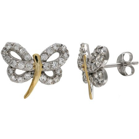 Silver Brilliance Pave CZ Dragonfly Stud Earrings