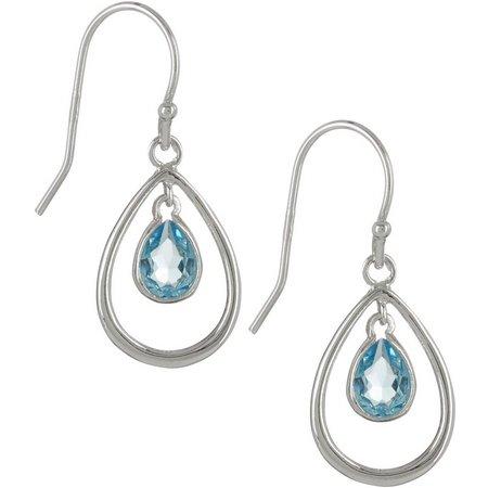 Crystal Elements Silver Plate Teardrop Earrings